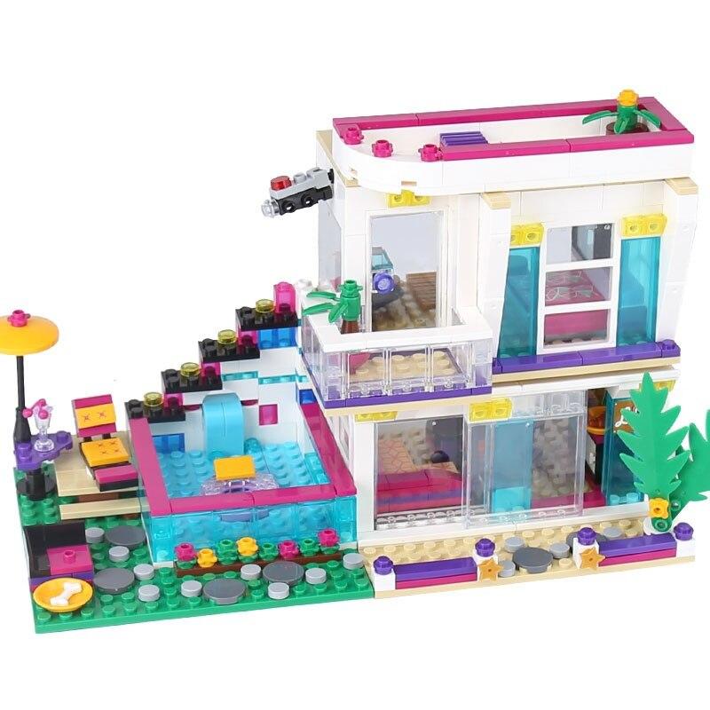 644pcs Livi Pop Star House Building Blocks Toys Girls Designer Gift Compatible LegoINGly Friends gonlei 10407 friends pop star tour bus building blocks sets bricks toys girl game house gift compatible with