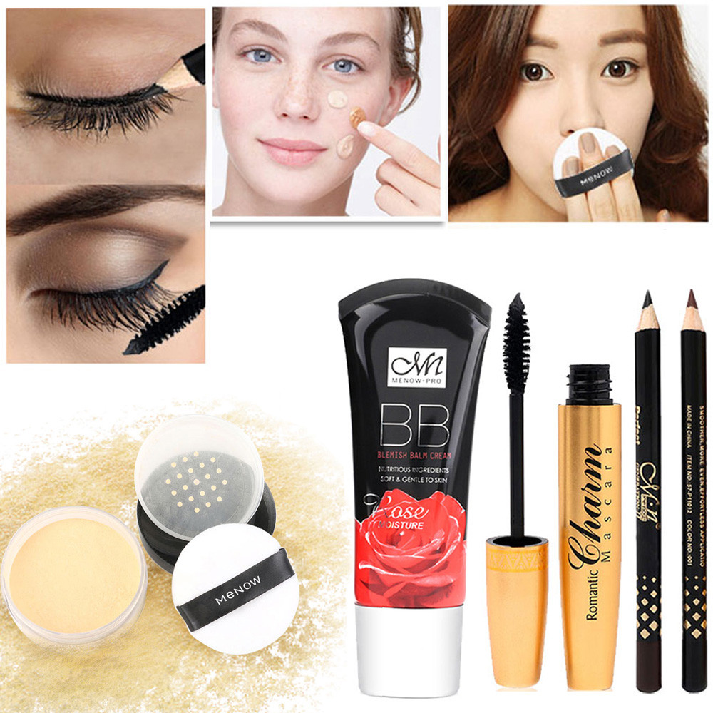 HUAMIANLI 2019 Waterproof Curling mascara + loose powder + liquid foundation + 2 eyebrow pencil(China)
