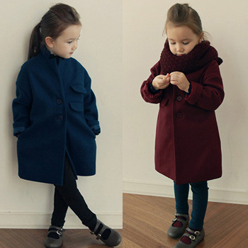 Winter Thick Warm Trench Woolen Girls Coat Collar Woolen Overcoat Thickening Winter Outerwear Kids Coat Children Clothing CW-30