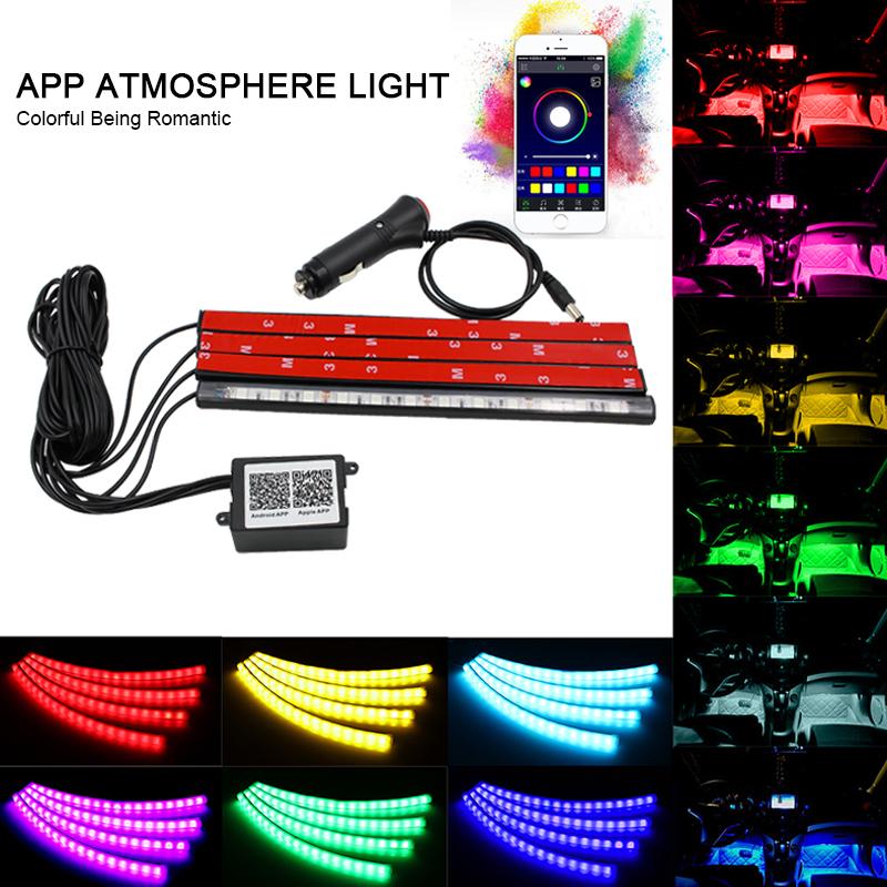 Prix pour Auto Voiture Intérieur RGB LED Bande Lumière Atmosphère Décoration Lampe DC 12 V 10 W De Voiture Intérieur Lumière Android iOS Téléphone APP contrôle