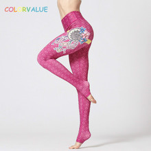 Colorvalue Pro 3D Printed Yoga Fitness Leggings Women Widen Waistband Running Gym Tights Anti-sweat Training Sport Leggings S-XL