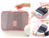 2017 Brand New High Quality 6Pcs Each Size Pink Luggage Travel Storage Packing Bag Pouch Organizer