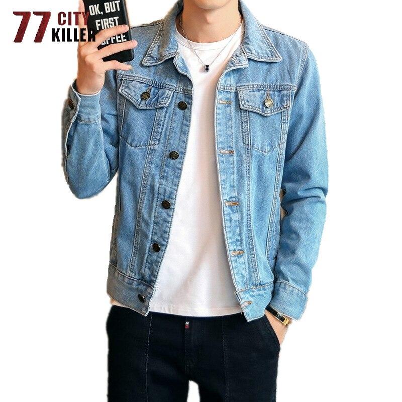 Streetwear Denim Jacket Men High Quality Casual Cotton Slim Fit Mens Cowboy Coats Motorcycle Jeans Jacket Male Plus Size M-4XL