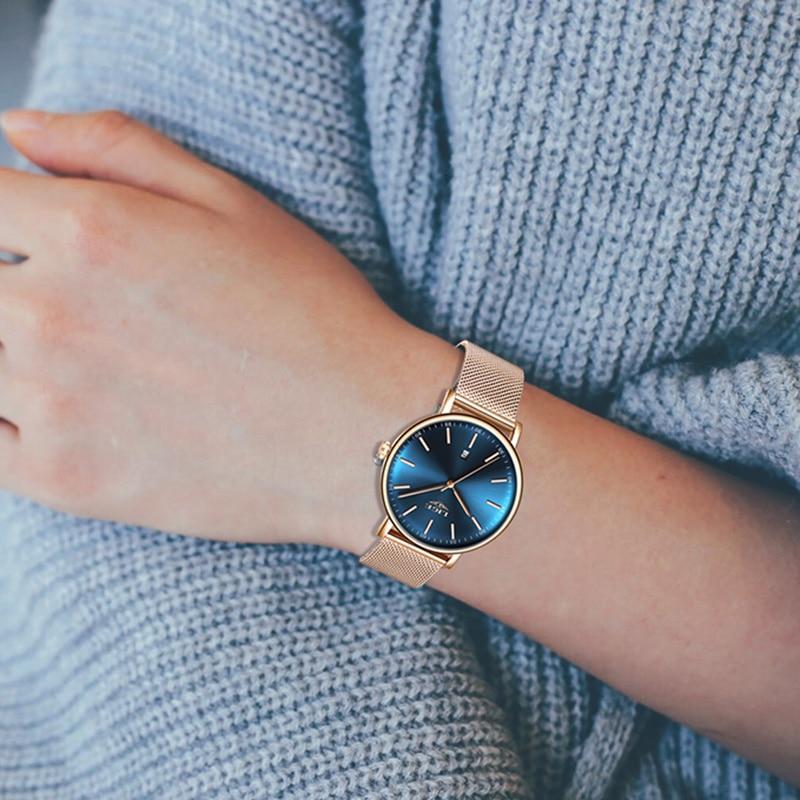 LIGE Women Watches Top Brand Luxury Ladies Mesh Belt Ultra thin Watch Stainless Steel Waterproof Clock Quartz Watch Reloj Mujer in Women 39 s Watches from Watches