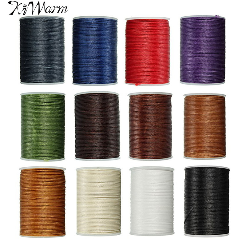 KiWarm Durable 1PC 78 Meter 0.8mm Leather Waxed Thread Cord for DIY Handicraft Tool Hand Polyester Stitching Thread Multicolor