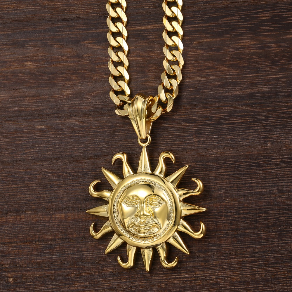 316L Stainless Steel Tribal Sun Necklace Pendant /& 60cm Ball Chain