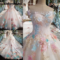 2017 romantic luxury flowers appliques crystals sequins colors wedding dress organza cathedral train