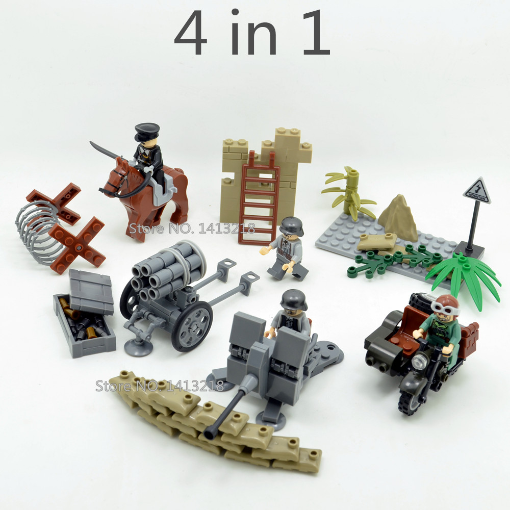4 in 1 German Waffen SS Army Military World War SWAT Weapon Gun Soldiers Motorcycle Building Blocks figures Boy Educational Toys