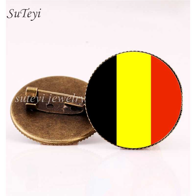 SUTEYI Belarus/Bulgaria Flag Crystal Pins Brooch Belgium/Iceland/Poland Badges 20MM Glass Brooches Hnadmade Jewelry Women Gift