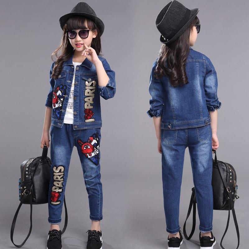 ФОТО Denim Clothes Suits for Girls Clothing Sets Children Jacket+Pants Set Casual Infants Autumn Coat+Trousers Suit 3T-12Y Kids Suits