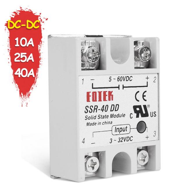 DC-DC Single Phase Solid State Relay DC DC SSR Module 10A 25A 40A DD Input Voltage 3-32V 12V DC TO 5-60V DC Output Load
