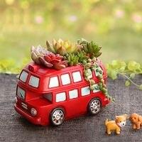 Grande retro vintage 1960's londra rosso classico autobus a due piani fiore pianta vaso di succulente planter vaso di decorazione
