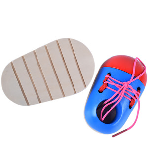 Image 2 - 1Pcs Random Kids Montessori Educational Toys Children Wooden Toys Toddler Lacing Shoes Early Education Montessori Teaching Aids