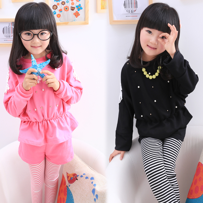 Free shipping Children's clothing spring/autumn girl fashionable casual handmade beading sweet suit long-sleeve T-shirt+pants free shipping children clothing spring girl three dimensional embroidery 100% cotton suit long sleeve t shirt pants
