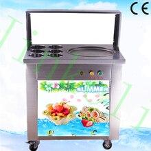 Livre navio de ar CE 110 V/220 V LED 304 aço inoxidável auto maquina de helados tailandês fritar sorvete máquina de rolo de um creme glacee