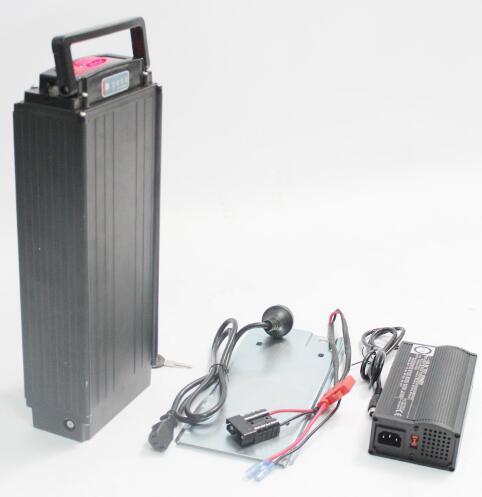 Boîtier de batterie de support arrière + BMS pour batterie 48 V 30AH + chargeur rapide 54.6 V 5A avec connecteur RCA vélo Ebike