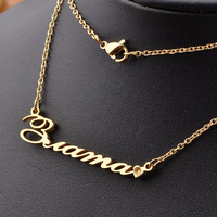 Personalized Custom Name Necklace Gold Stainless Steel Necklaces For Gift Nameplate Pendant Choker Women Jewelry Dropshipping