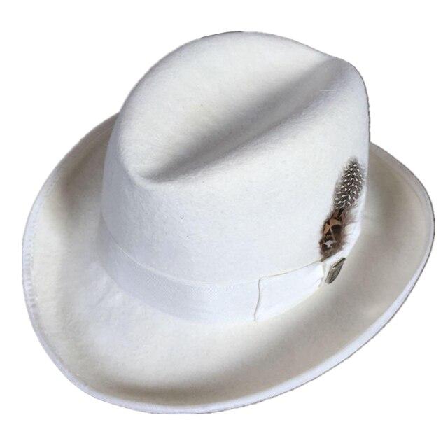 eff028652f77d Classic White Wool Felt Homburg Godfather Fedora Bowler Hat For Men Women