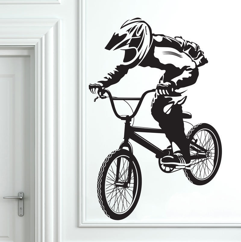 BMX Bike Bicycle Biker Boys Wall Decal Art Decor Sticker Vinyl Mural