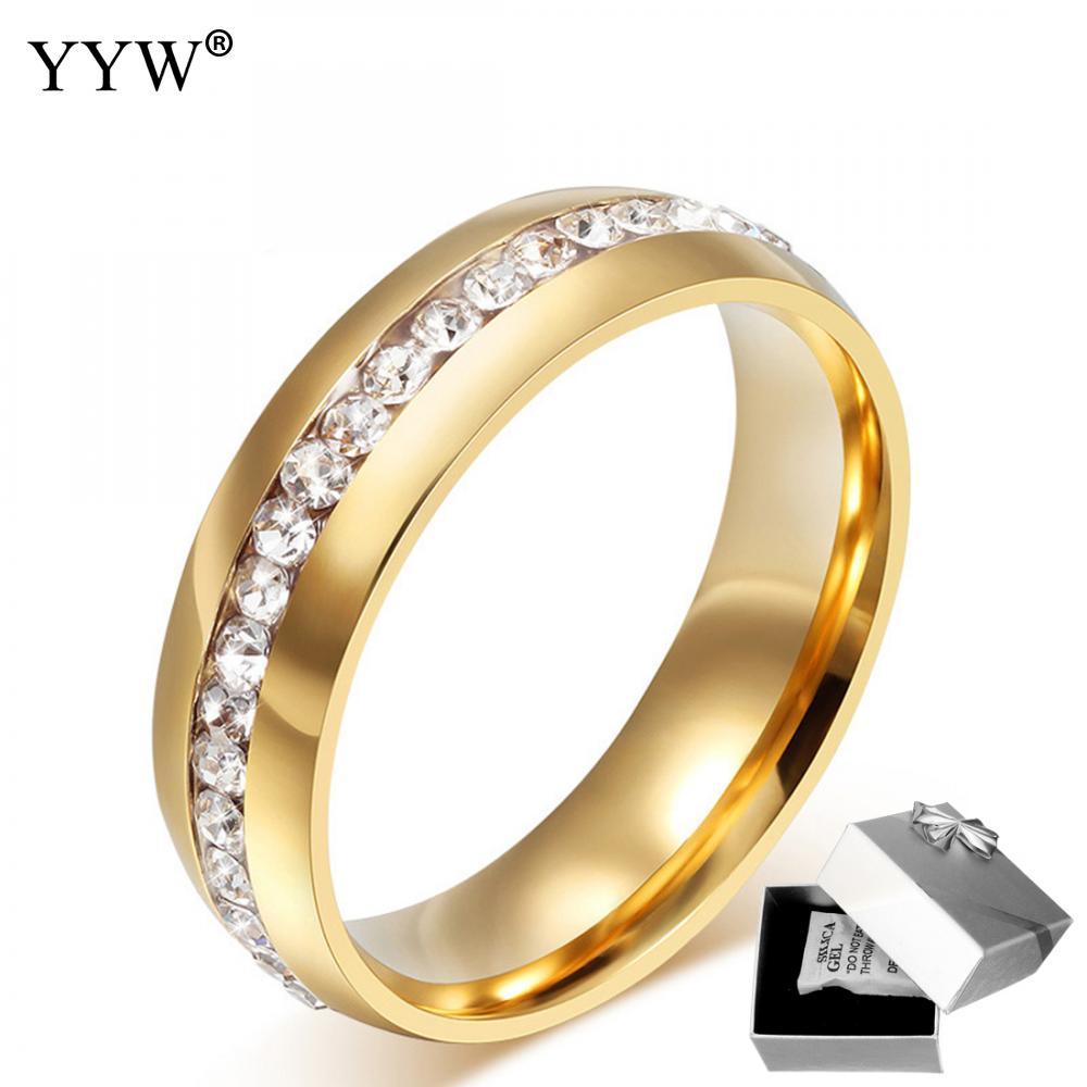 Titanium Steel Finger Ring Wedding Bridal Engagement Ring Ladies Trinket##
