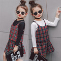 Girl Clothes Kids clothing sets 2017 England Plaid Vest + Skirt + White T-shirt Three pieces ses Children's tracksuits for girls