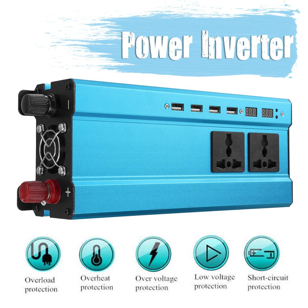 Car Inverter 5000W  Pea k Power Inverter 12V 220V DC-AC  Solar Sine Wave Inverter Voltage Transformer Converter  LED Display