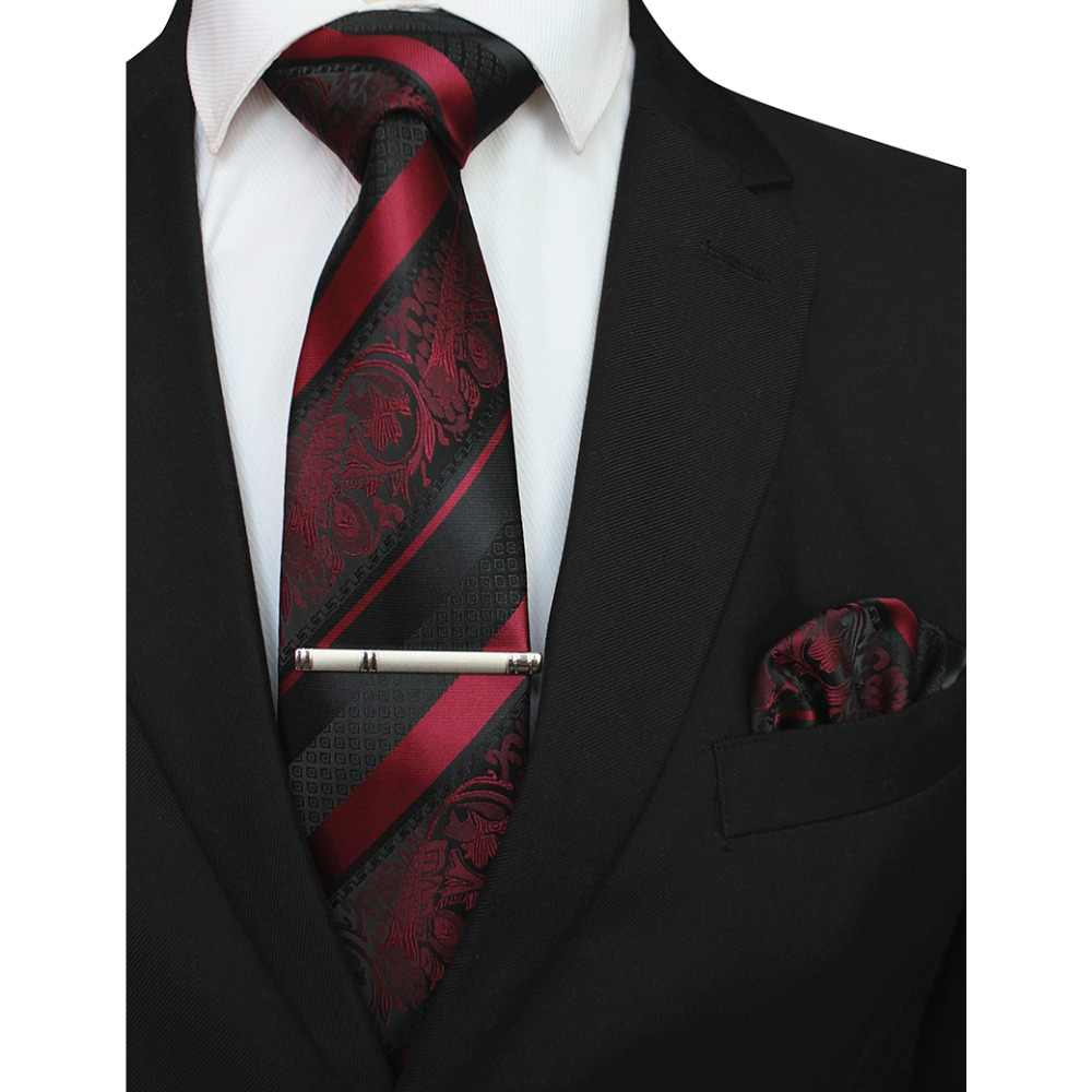GUSLESON New Classic A Strisce Floreale Cravatte Da Uomo Pocket Piazza Cravatta Clip di Set Dio Rosso Verde Cravatta di Seta del Vestito di Affari di Nozze