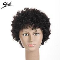 Sleek Short Human Hair Wigs For Black Women Brazilian Kinky Curly Hair Non Lace Wig 8 Colors Free Shipping 6 Inch VIVIAN