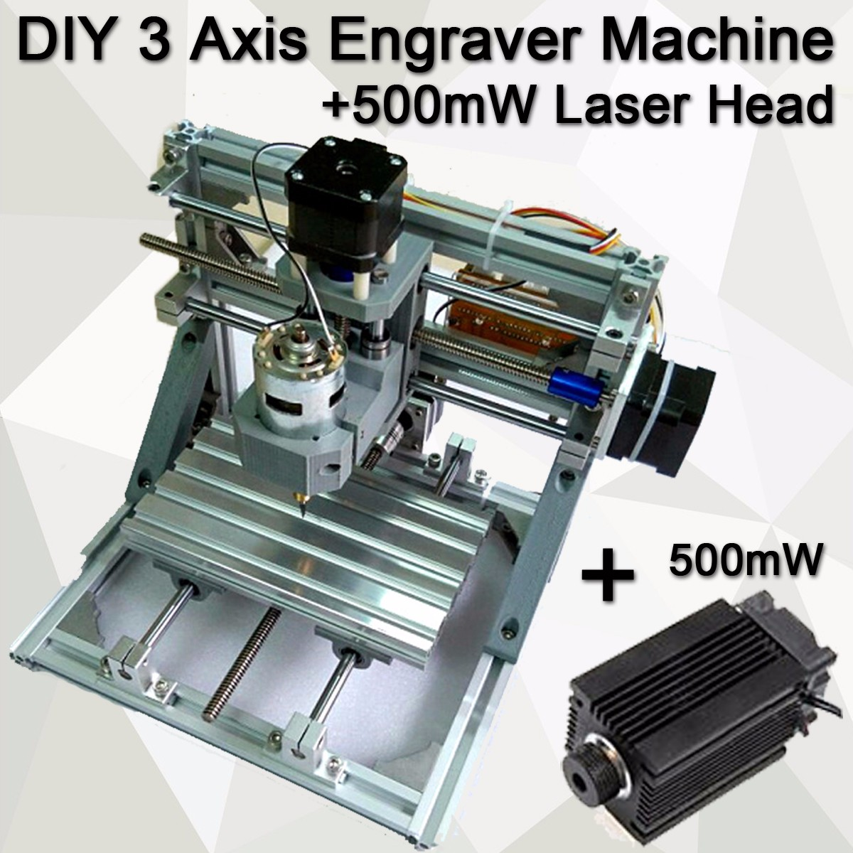 Mini 3 grabador láser máquina cc 12V DIY cortador de madera de escritorio/impresora/potencia ajustable con cabezal láser de 500MW