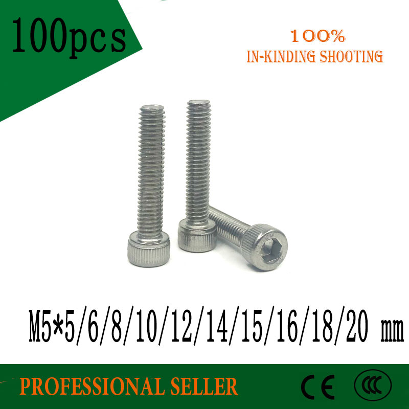 100pcs M5 DIN912 304 Stainless steel Hexagon Hex Socket Head Cap screw Metric Thread M5*5/6/8/10/12/14/16/18/20 mm Cylinder Bolt 304 stainless steel set screw black inner hexagon hex socket cup end m top thread headless screw bolt m3 3 4 5 6 8 10 12
