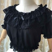 Victorian Women Lolita Frilly Chiffon Crop Top Blouse White/Black/Wine Red/Blue/Apricot Puff Sleeve Lace Bottoming Shirt Top