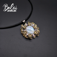 Bolaijewelry,blue moonstone pendant natural big size gemstone roses design retro style 925 sterling silver woman fine jewelry