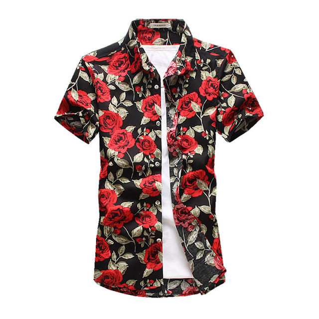 5248b0db Mens Floral Sshirt 2019 Summer Fashion Men Short sleeve Shirts flowers printed  shirt Casual High Quality Male Shirts