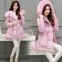 Parkas Warm Fur Fashion Hooded Coat Winter Jacket Woman 2017 Solid Color Zipper Down Cotton Plus