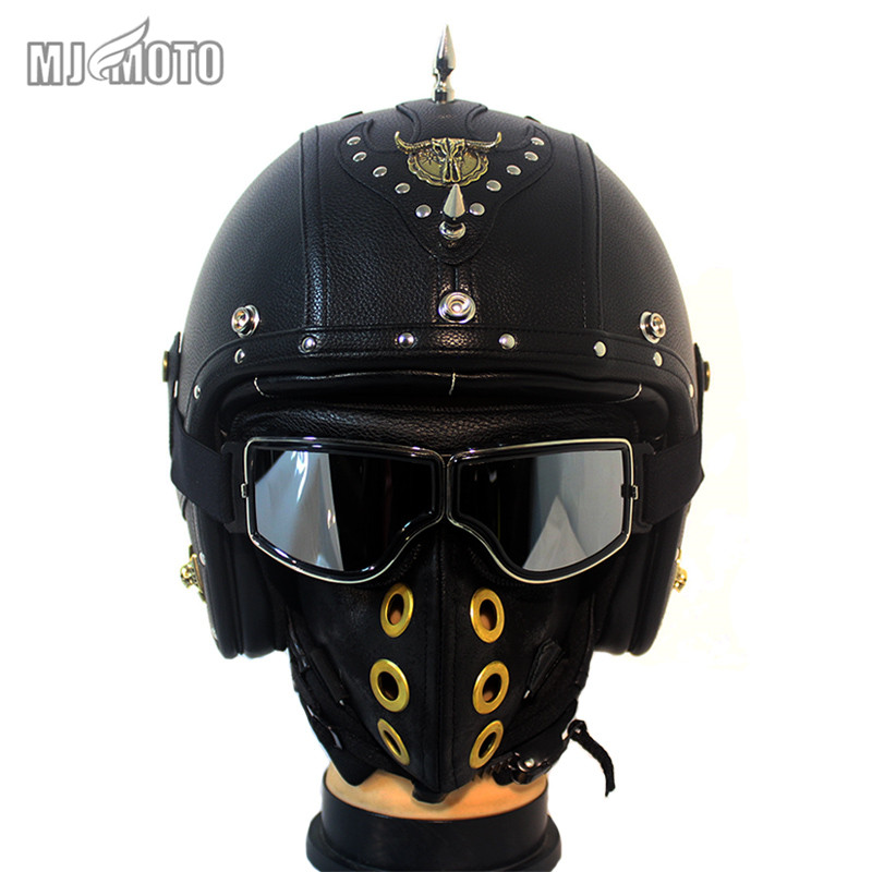 Handmade Motorcycle helmet Retro 3/4 Leather For Harley style moto Helmets open face Chopper Casque Casco helmet mask goggles ...