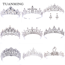 Fashion European Styles Silver Hair Jewelry Pearl Crystal Tiaras And Crowns For Bride Wedding Women Handmade Accessories