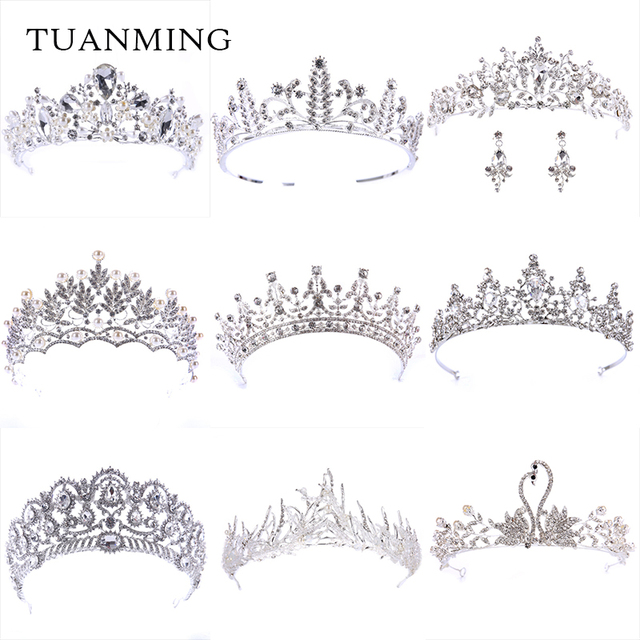 Fashion European Styles Silver Hair Jewelry Pearl Crystal Tiaras And Crowns For
