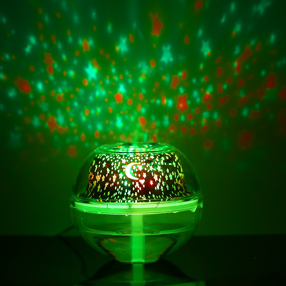 USB LED Projector Light Crystal Night Lamp Projector 500ml Air Humidifier Desktop Aroma Diffuser Ultrasonic Mist Maker For Home