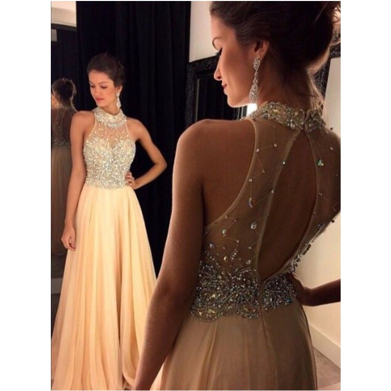 2016 light champagne prom dress beading halter long