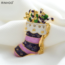 Merry Christmas socks New brooches pins crystal vintage Brooches Rhinestone beautiful brooches Xmas decoration jewelry
