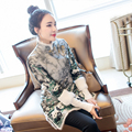 2017 new fashionable short qipao plum blossom dragon faux silk dress short cheongsam chinese traditional dress qipao dress