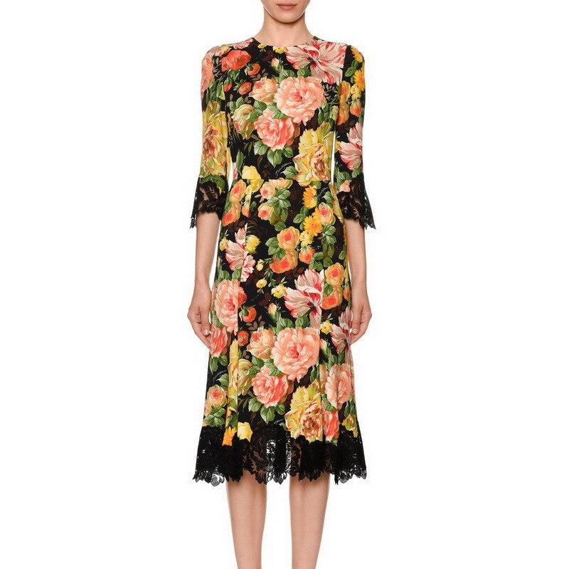 2019 spring new half sleeve print stitching lace slim dress 190306lu01