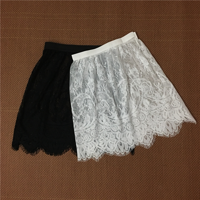 Women Sexy Lace Mesh Skirt Autumn Winter Casual High Waist Elastic Floral Hollow Out A-Line See Through Tulle Micro Short Skirt