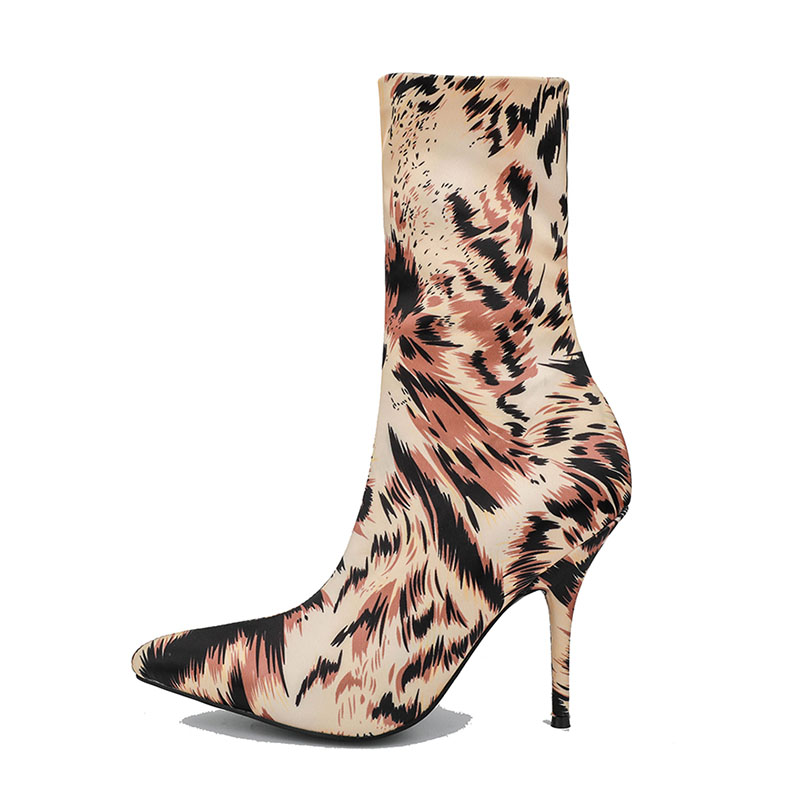 Stretch Fabric Women Sock Boots Pointed Toe Mid Calf Women Boots Brand Design High Heel Women Boots Printing Slip on Stilettos in Mid Calf Boots from Shoes