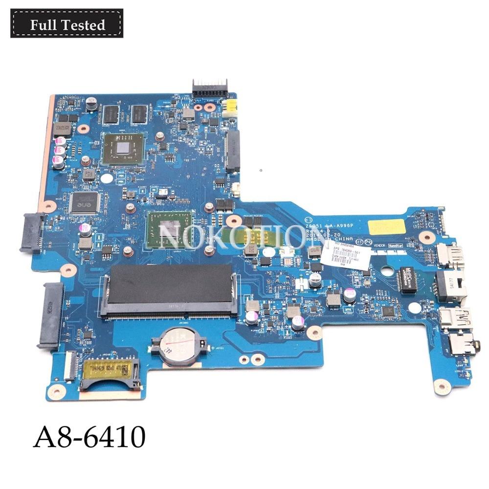 NOKOTION 764269-501 LA-A996P laptop motherboard for hp pavilion 15 15-g A8-6410 2.0Ghz 8570M 2GB 764269-001 Main boardNOKOTION 764269-501 LA-A996P laptop motherboard for hp pavilion 15 15-g A8-6410 2.0Ghz 8570M 2GB 764269-001 Main board