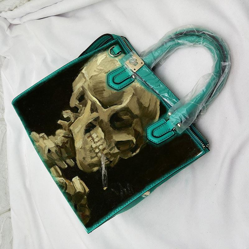 New Real Cowskin Leather Handbags Print POP Art Skull Tote Famous Designer Crossbody Bag Women Hand Bags Sac A Main Femme 2018 skull cat print crescent hem top