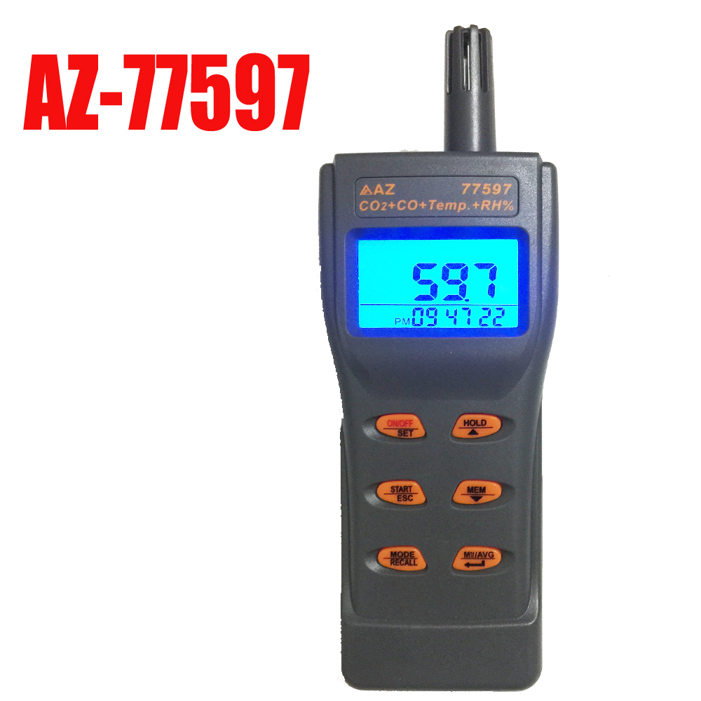 AZ77597 carbon dioxide detector CO2 CO Detector Tester 2in1 Gas detector Toxic gas analyzer Instrumentation factory direct carbon dioxide gas welding gas mixture co2 pressure reducer heating accessories table gh100
