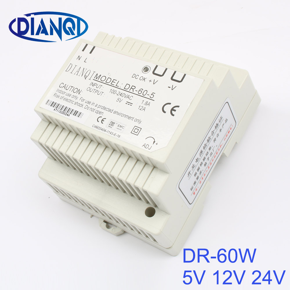 DIANQI Din rail power supply 60w 24V power suply 24v 60w ac dc converter dr-60-24 good quality OEM ac dc dr 60 5v 60w 5vdc switching power supply din rail for led light free shipping