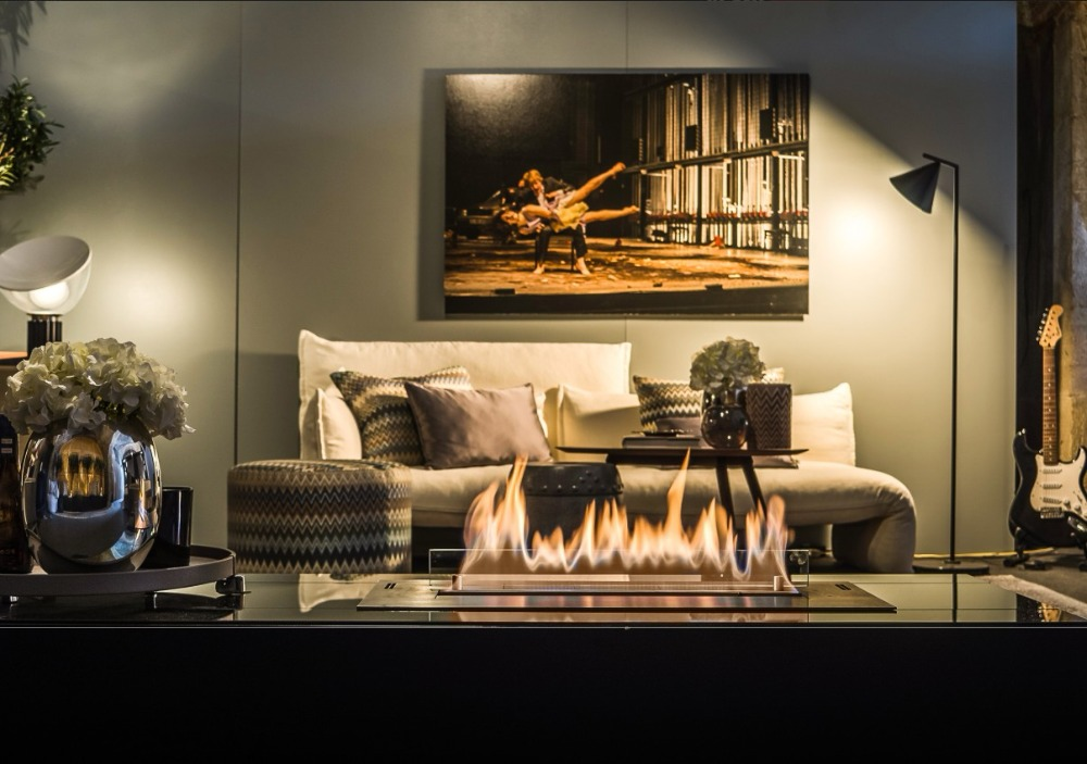 Inno Living 800mm Silver/black Smart Control Bio Fireplace