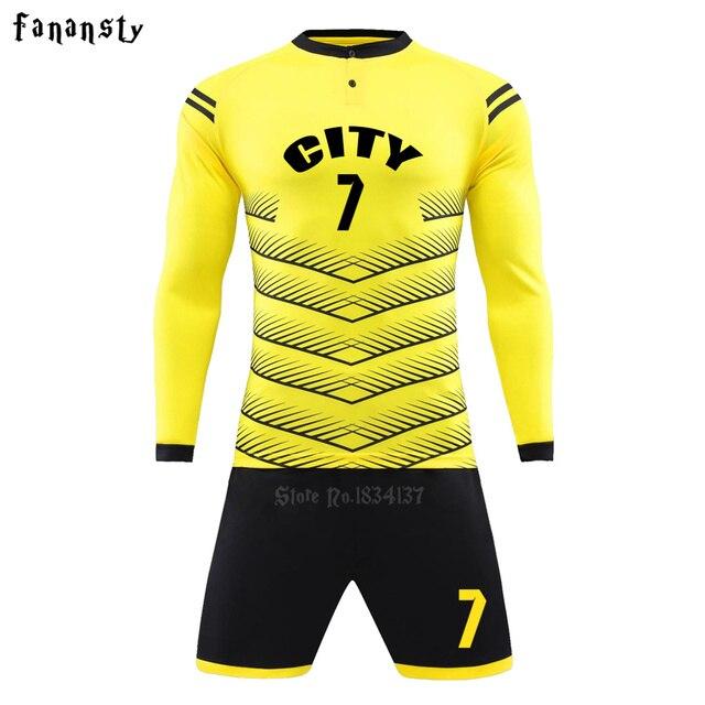 Homens camisas de futebol personalizado uniformes de futebol de manga longa  conjuntos de kit de futebol 3e82a8636ccf7